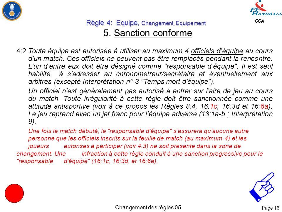 Page 15 CCA Changement des règles 05 Règle 4: Equipe, Changement, Equipement Règle 4: Equipe, Changement, Equipement 4. 14 Joueurs ( en FRANCE, selon