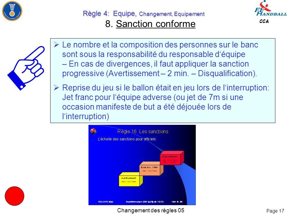 Page 16 CCA Changement des règles 05 Règle 4: Equipe, Changement, Equipement Règle 4: Equipe, Changement, Equipement 5. Sanction conforme 4:2 Toute éq