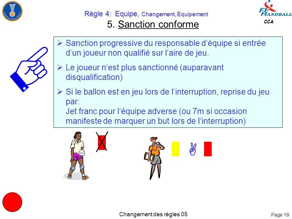 Page 18 CCA Changement des règles 05 Règle 4: Equipe, Changement, Equipement Règle 4: Equipe, Changement, Equipement 5. Sanction conforme 4:3 Un joueu