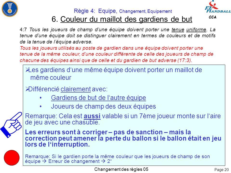 Page 19 CCA Changement des règles 05 Règle 4: Equipe, Changement, Equipement Règle 4: Equipe, Changement, Equipement 5.