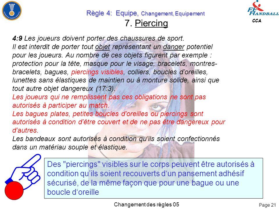 Page 20 CCA Changement des règles 05 Règle 4: Equipe, Changement, Equipement Règle 4: Equipe, Changement, Equipement 6.