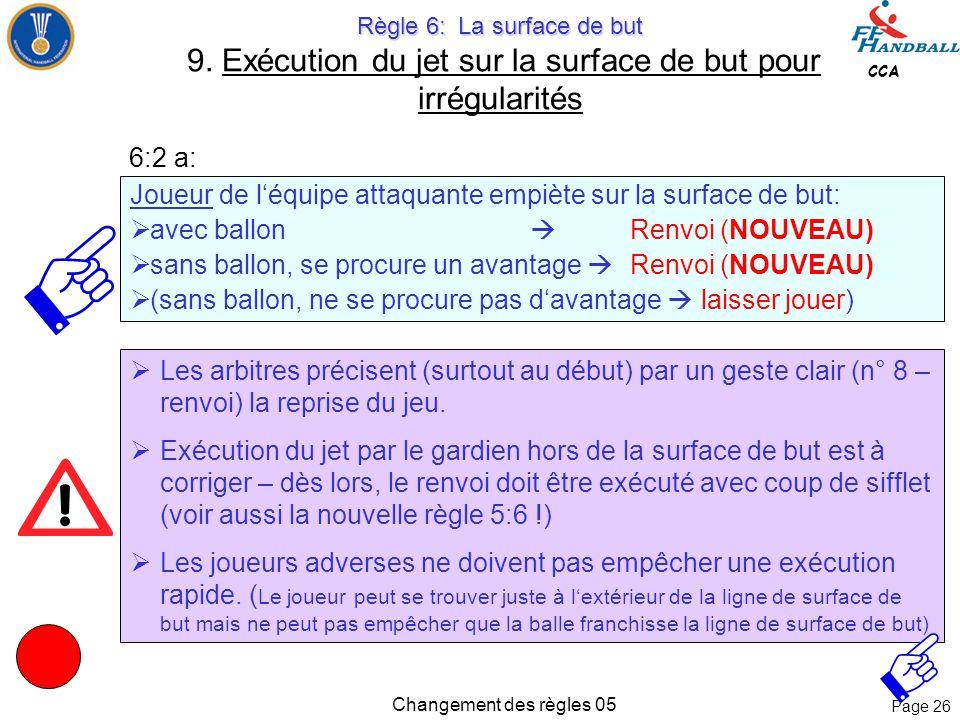 Page 25 CCA Changement des règles 05 Règle 6: La surface de but Règle 6: La surface de but 9. Exécution du jet sur la surface de but pour irrégularité