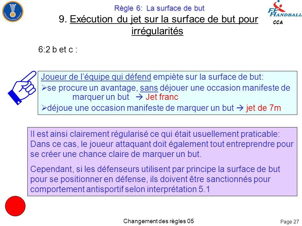Page 26 CCA Changement des règles 05 Règle 6: La surface de but Règle 6: La surface de but 9. Exécution du jet sur la surface de but pour irrégularité