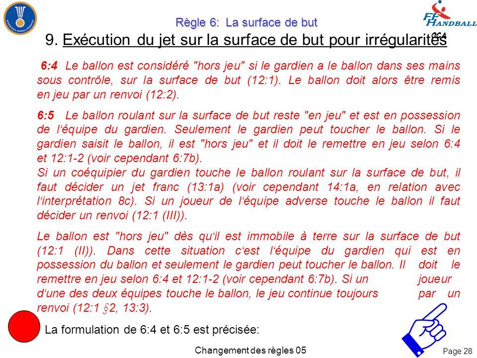 Page 27 CCA Changement des règles 05 Règle 6: La surface de but Règle 6: La surface de but 9. Exécution du jet sur la surface de but pour irrégularité