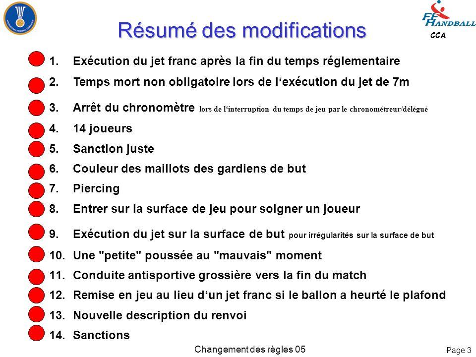 Page 23 CCA Changement des règles 05 Règle 4: Equipe, Changement, Equipement Règle 4: Equipe, Changement, Equipement 8.