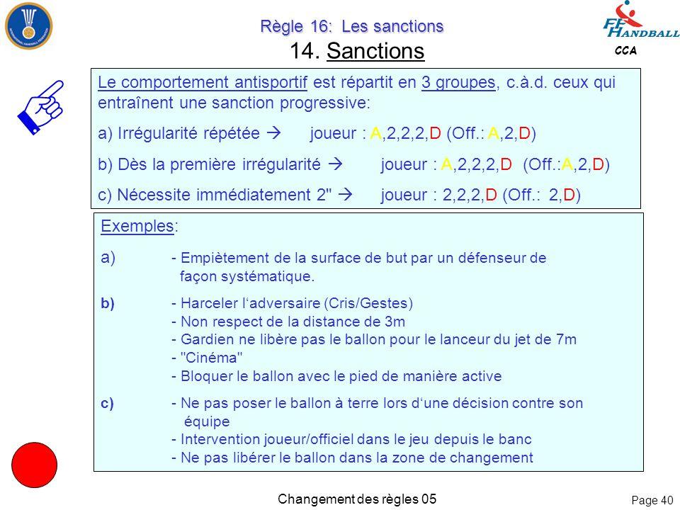 Page 39 CCA Changement des règles 05 Règle 16: Les sanctions Règle 16: Les sanctions 14. Sanctions 5.1 Lorsque les joueurs en défense utilisent la sur