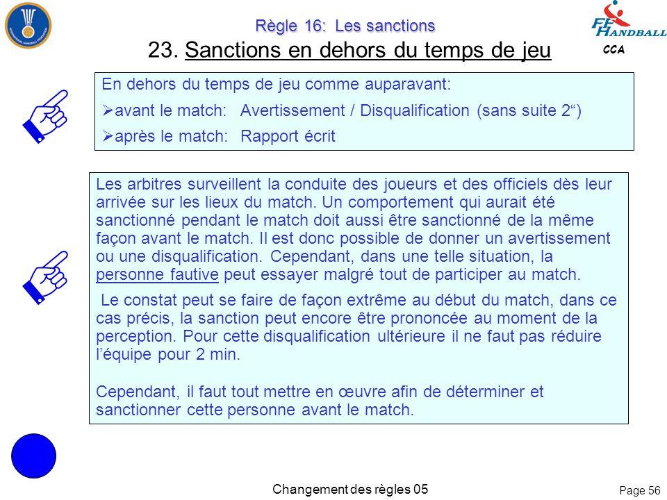 Page 55 CCA Changement des règles 05 Règle 16: Les sanctions Règle 16: Les sanctions 23. Sanctions en dehors du temps de jeu Irrégularités commises en
