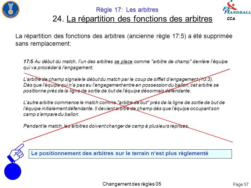 Page 56 CCA Changement des règles 05 Règle 16: Les sanctions Règle 16: Les sanctions 23. Sanctions en dehors du temps de jeu En dehors du temps de jeu