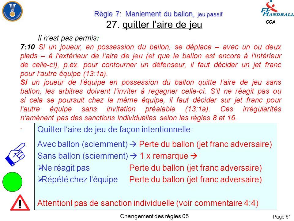 Page 60 CCA Changement des règles 05 Règle 4: Equipe, Changement, Equipement Règle 4: Equipe, Changement, Equipement 26. Quitter l'aire de jeu sportiv