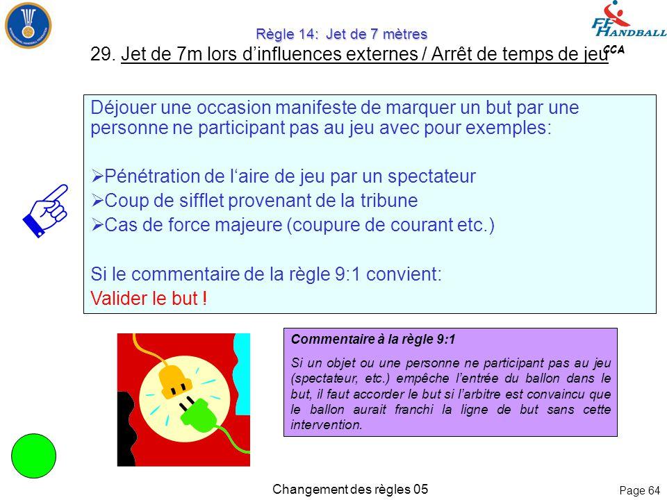 Page 63 CCA Changement des règles 05 Règle 14: Jet de 7 mètres Règle 14: Jet de 7 mètres 29. Jet de 7m lors d'influences externes / Arrêt de temps de