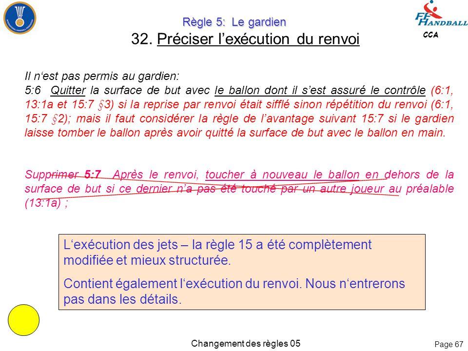 Page 66 CCA Changement des règles 05 Règle 4: Equipe, Changement, Equipement Règle 4: Equipe, Changement, Equipement 31.
