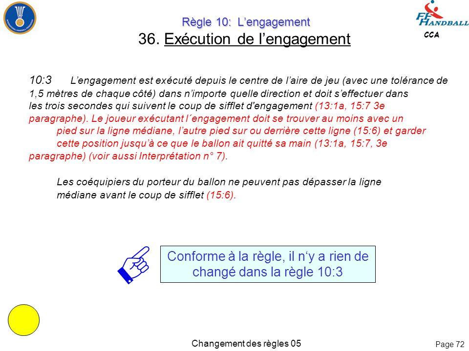 Page 71 CCA Changement des règles 05 Règle 8: Irrégularités et fautes Règle 8: Irrégularités et fautes 35. Sanctions progressives La règle 8:2 a été c