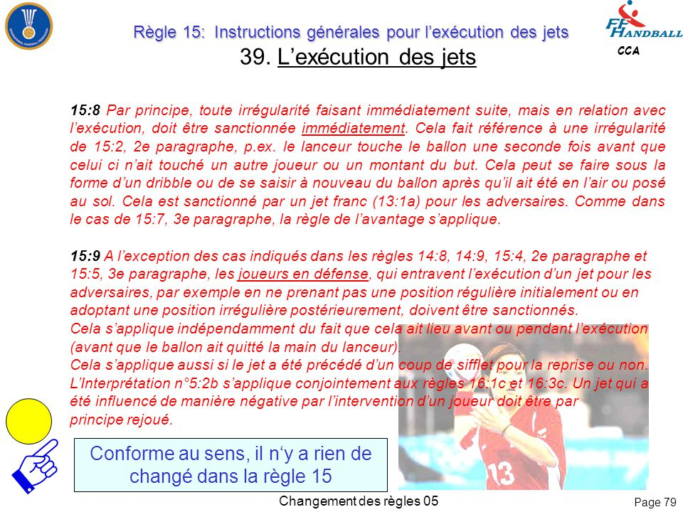 Page 78 CCA Changement des règles 05 Sanctions 15:6 Les irrégularités commises par le lanceur ou ses coéquipiers avant l'exécution d'un jet, p.ex., et