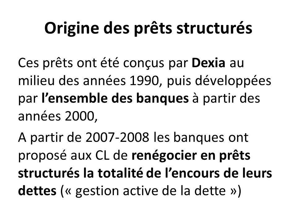 Origine des prêts structurés Ces prêts ont été conçus par Dexia au milieu des années 1990, puis développées par l'ensemble des banques à partir des années 2000, A partir de 2007-2008 les banques ont proposé aux CL de renégocier en prêts structurés la totalité de l'encours de leurs dettes (« gestion active de la dette »)