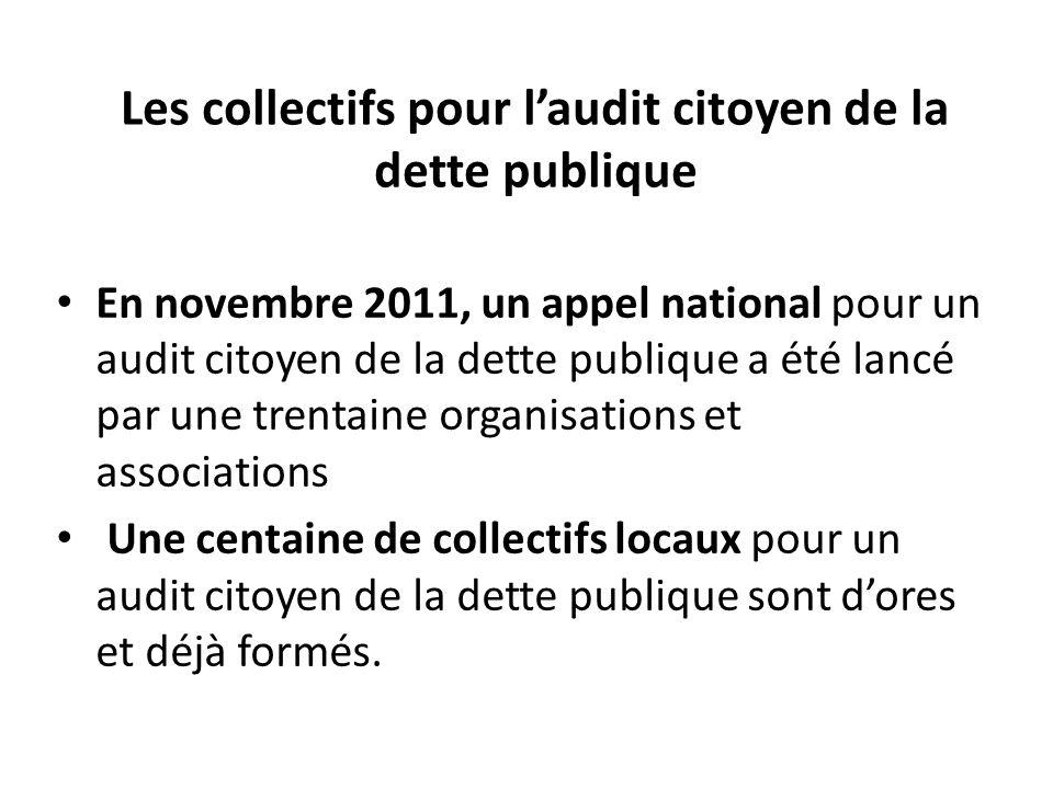Les collectifs pour l'audit citoyen de la dette publique En novembre 2011, un appel national pour un audit citoyen de la dette publique a été lancé pa