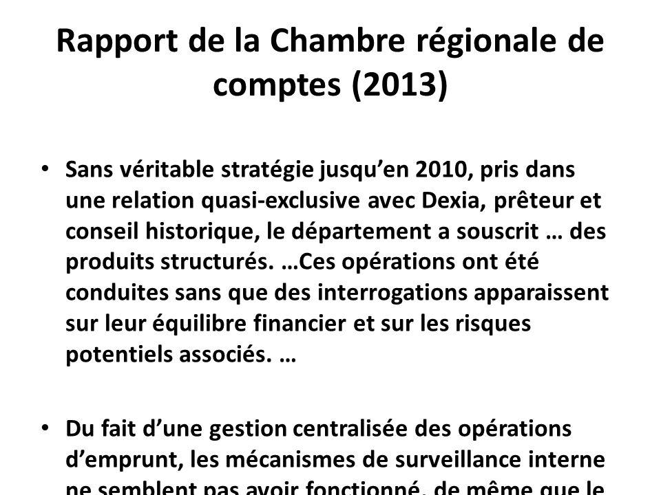 Rapport de la Chambre régionale de comptes (2013) Sans véritable stratégie jusqu'en 2010, pris dans une relation quasi-exclusive avec Dexia, prêteur et conseil historique, le département a souscrit … des produits structurés.