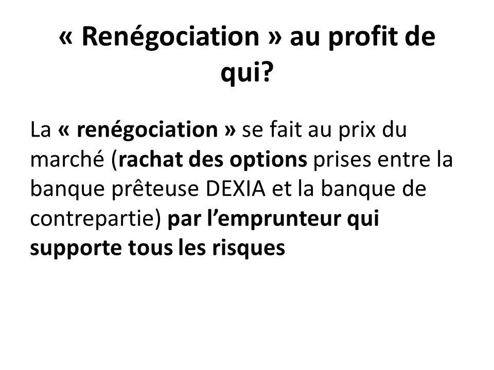 « Renégociation » au profit de qui? La « renégociation » se fait au prix du marché (rachat des options prises entre la banque prêteuse DEXIA et la ban