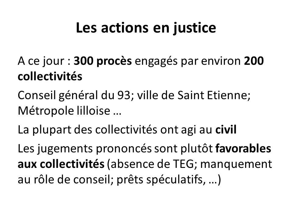 Les actions en justice A ce jour : 300 procès engagés par environ 200 collectivités Conseil général du 93; ville de Saint Etienne; Métropole lilloise