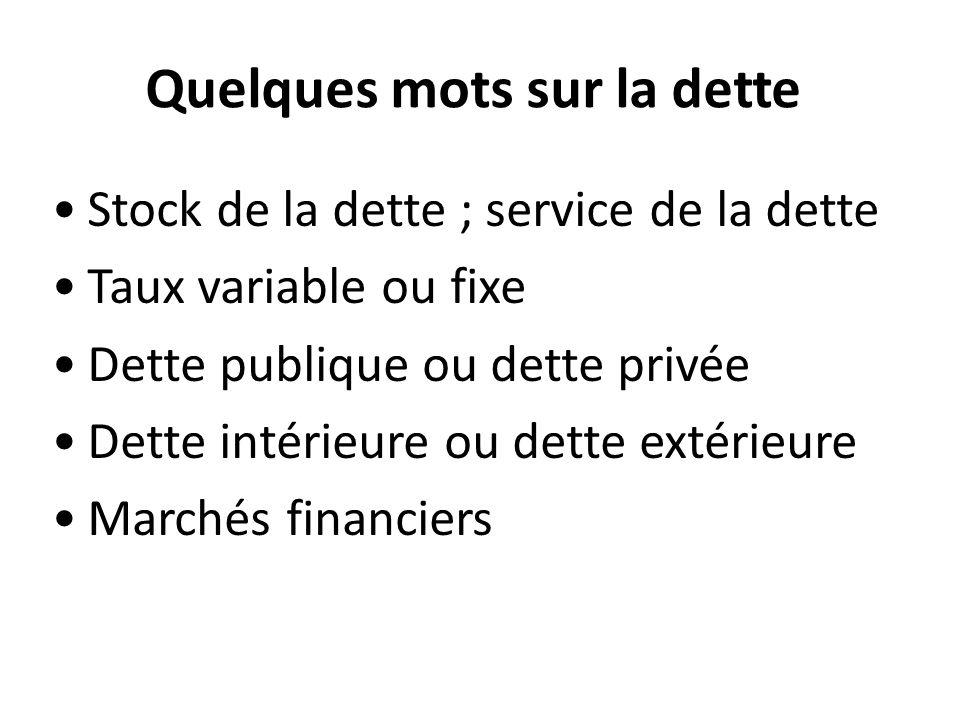 Quelques mots sur la dette Stock de la dette ; service de la dette Taux variable ou fixe Dette publique ou dette privée Dette intérieure ou dette extérieure Marchés financiers