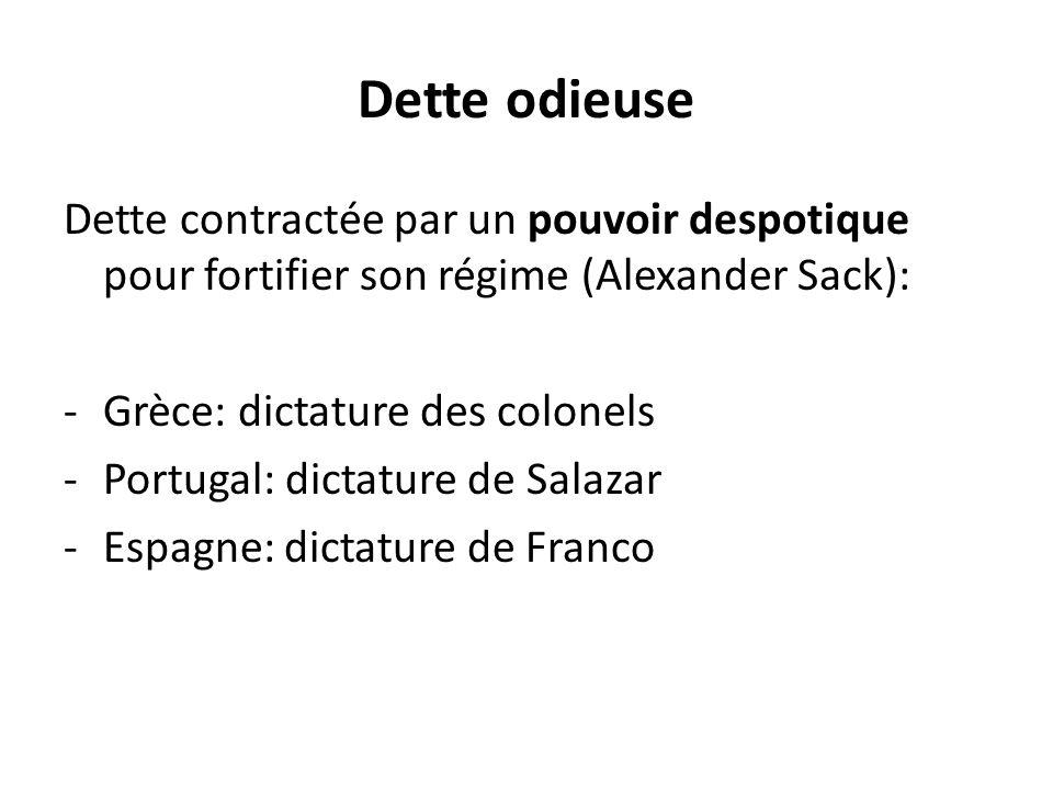 Dette odieuse Dette contractée par un pouvoir despotique pour fortifier son régime (Alexander Sack): -Grèce: dictature des colonels -Portugal: dictatu
