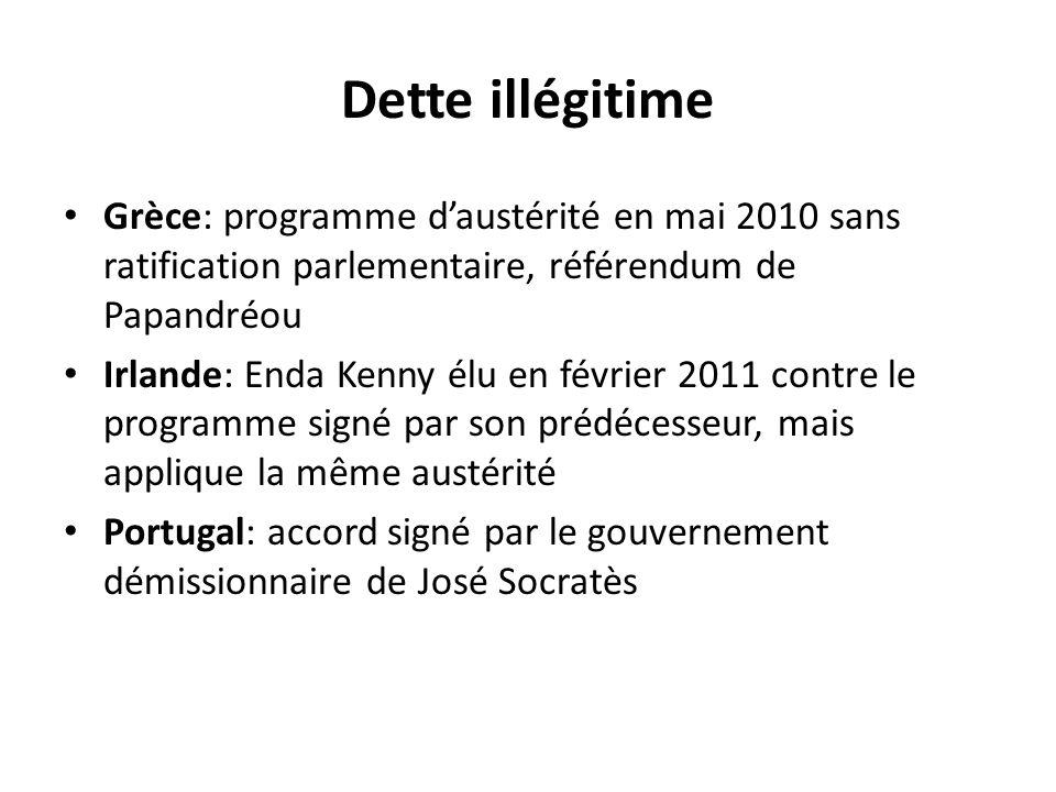 Dette illégitime Grèce: programme d'austérité en mai 2010 sans ratification parlementaire, référendum de Papandréou Irlande: Enda Kenny élu en février