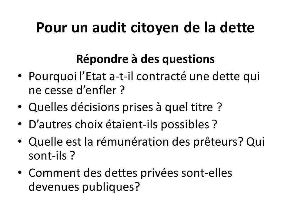Pour un audit citoyen de la dette Répondre à des questions Pourquoi l'Etat a-t-il contracté une dette qui ne cesse d'enfler ? Quelles décisions prises