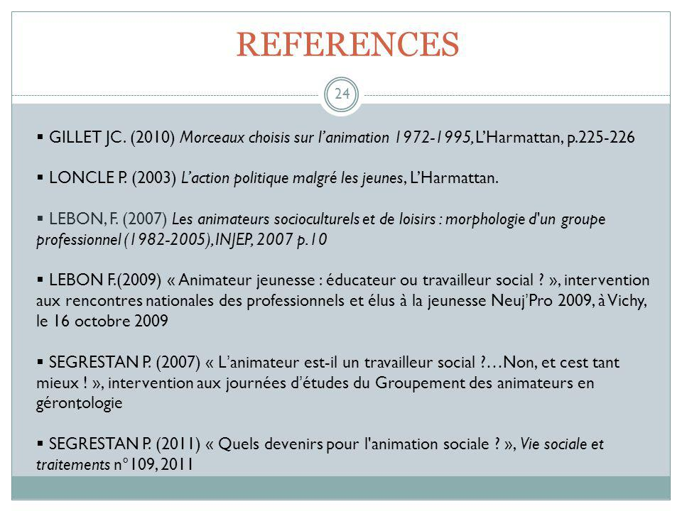 REFERENCES 24.  GILLET JC.