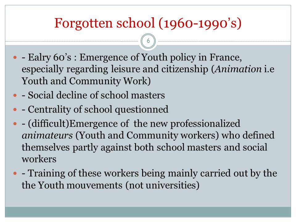 School Rediscovered (late 1990-2014?) - Important reform of French school since 2012 - Les rythmes scolaires (ie schooltime organisation) that is a reorganisation of the schoolday and the will to take into account afterschool work - Broader context : PISA inquiries, crise of the French middle school (« collège ») Growing role of the local authorities in France since the early 90's, especially regarding education matters 7