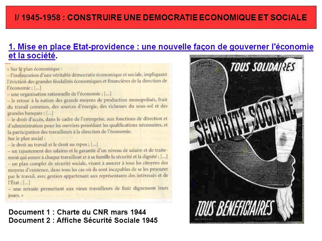 I/ 1945-1958 : CONSTRUIRE UNE DEMOCRATIE ECONOMIQUE ET SOCIALE 1. Mise en place Etat-providence : une nouvelle façon de gouverner l'économie et la soc