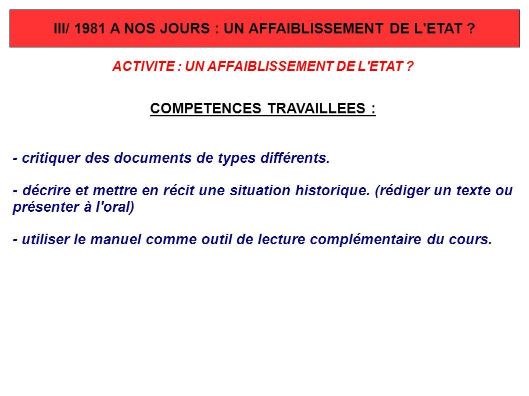 III/ 1981 A NOS JOURS : UN AFFAIBLISSEMENT DE L'ETAT ? ACTIVITE : UN AFFAIBLISSEMENT DE L'ETAT ? COMPETENCES TRAVAILLEES : - critiquer des documents d