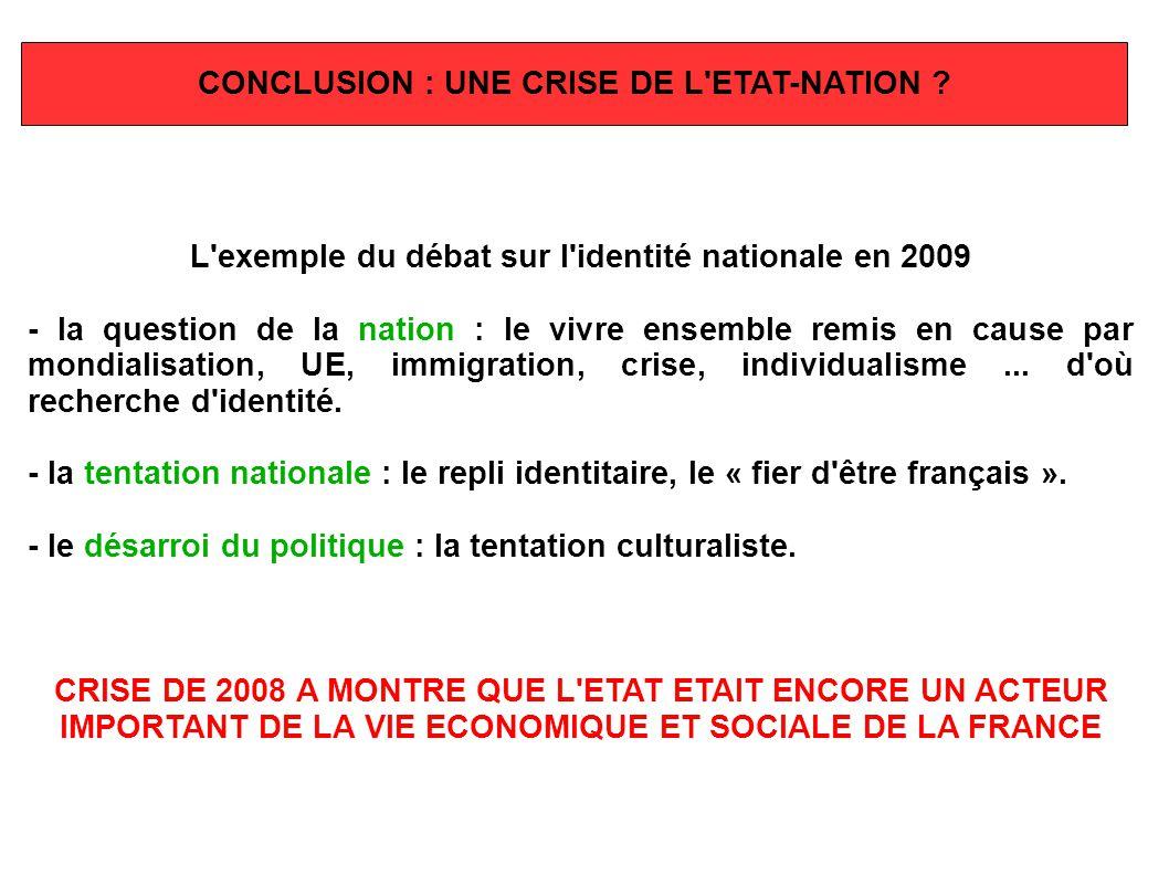 CONCLUSION : UNE CRISE DE L'ETAT-NATION ? L'exemple du débat sur l'identité nationale en 2009 - la question de la nation : le vivre ensemble remis en
