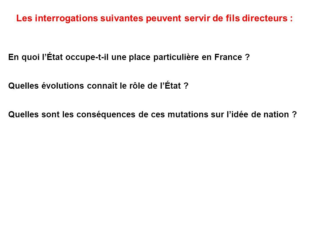Les interrogations suivantes peuvent servir de fils directeurs : En quoi l'État occupe-t-il une place particulière en France ? Quelles évolutions conn