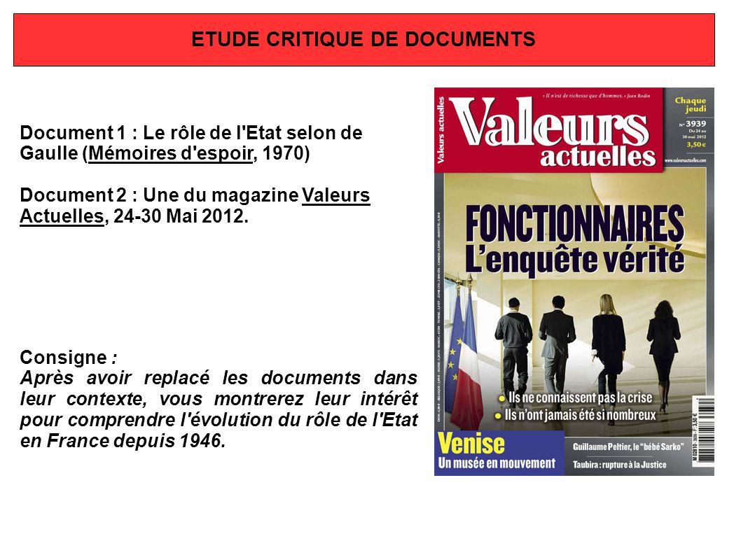 ETUDE CRITIQUE DE DOCUMENTS Document 1 : Le rôle de l'Etat selon de Gaulle (Mémoires d'espoir, 1970) Document 2 : Une du magazine Valeurs Actuelles, 2