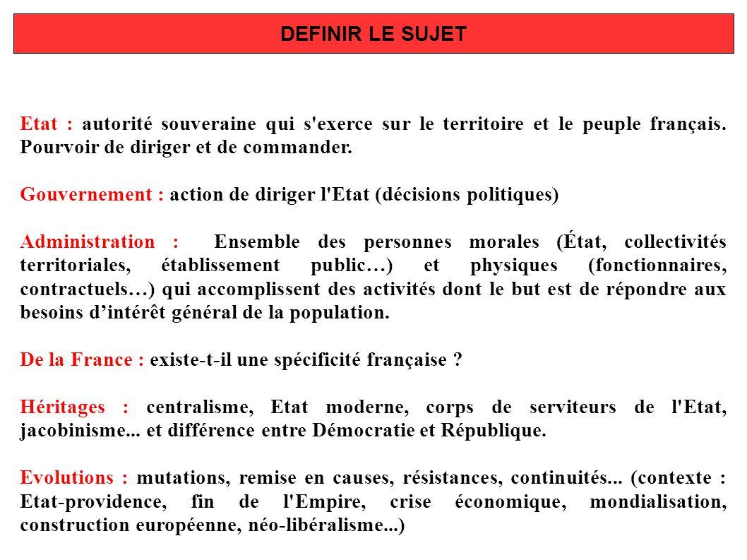 DEFINIR LE SUJET Etat : autorité souveraine qui s'exerce sur le territoire et le peuple français. Pourvoir de diriger et de commander. Gouvernement :