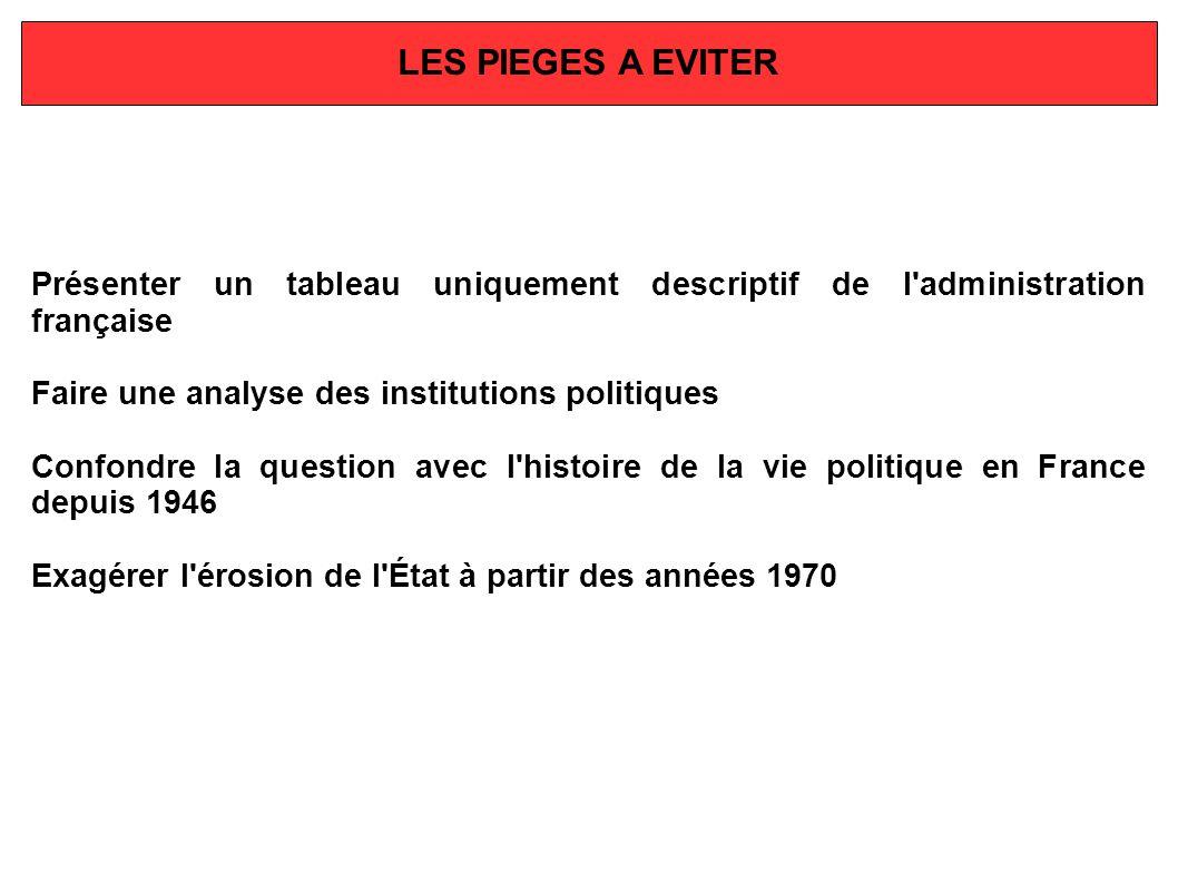 Présenter un tableau uniquement descriptif de l'administration française Faire une analyse des institutions politiques Confondre la question avec l'hi