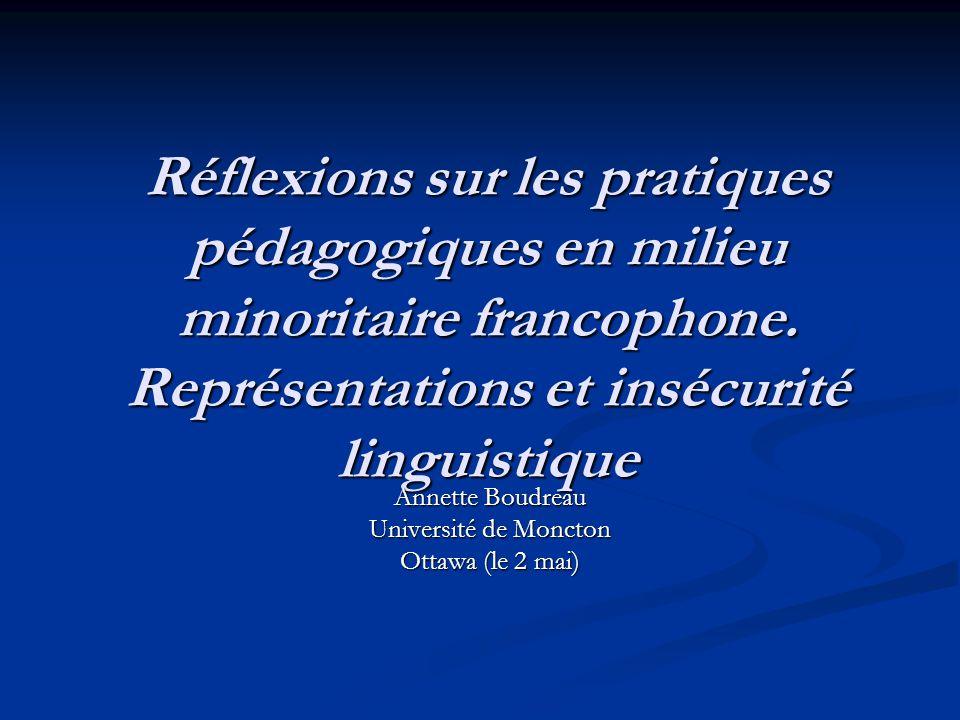 Réflexions sur les pratiques pédagogiques en milieu minoritaire francophone.