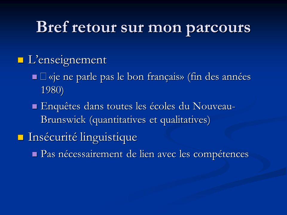 Bref retour sur mon parcours L'enseignement L'enseignement «je ne parle pas le bon français» (fin des années 1980) «je ne parle pas le bon français» (fin des années 1980) Enquêtes dans toutes les écoles du Nouveau- Brunswick (quantitatives et qualitatives) Enquêtes dans toutes les écoles du Nouveau- Brunswick (quantitatives et qualitatives) Insécurité linguistique Insécurité linguistique Pas nécessairement de lien avec les compétences Pas nécessairement de lien avec les compétences