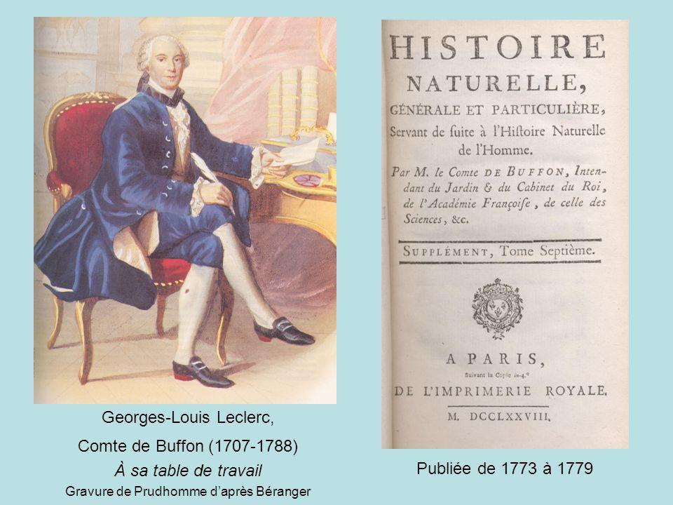 Georges-Louis Leclerc, Comte de Buffon (1707-1788) À sa table de travail Gravure de Prudhomme d'après Béranger Publiée de 1773 à 1779