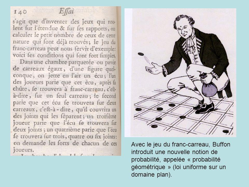 Avec le jeu du franc-carreau, Buffon introduit une nouvelle notion de probabilité, appelée « probabilité géométrique » (loi uniforme sur un domaine pl