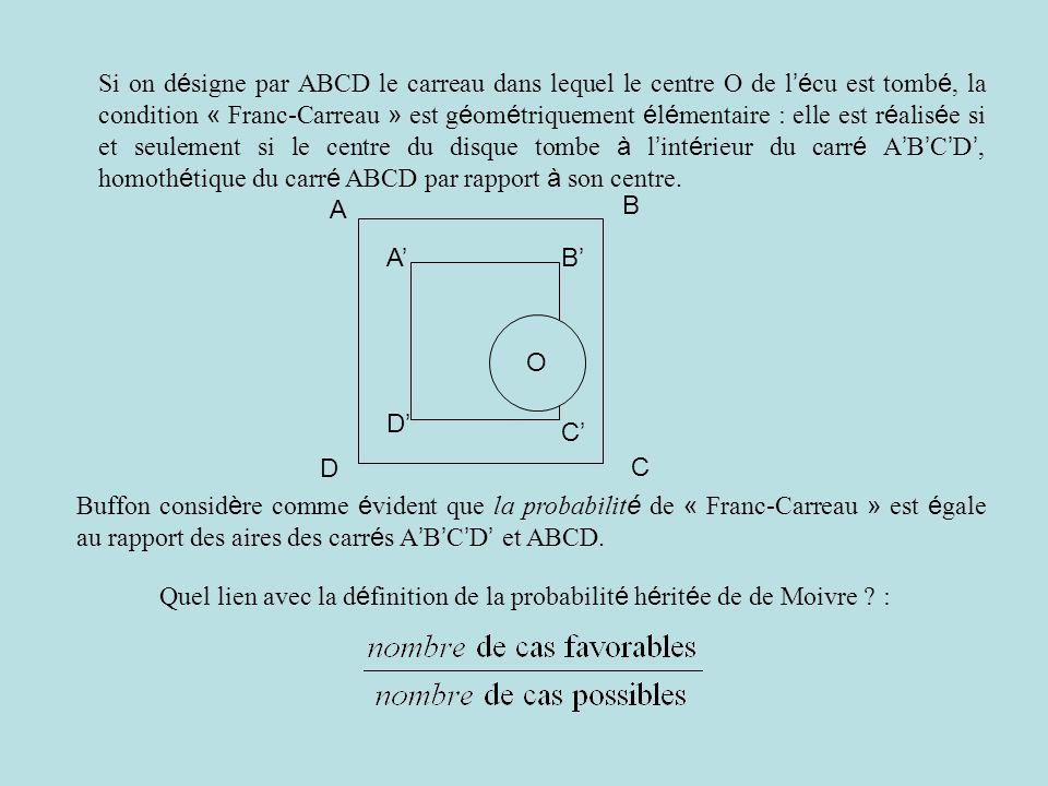 Si on d é signe par ABCD le carreau dans lequel le centre O de l 'é cu est tomb é, la condition « Franc-Carreau » est g é om é triquement é l é mentai