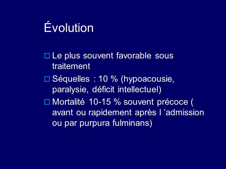 Évolution  Le plus souvent favorable sous traitement  Séquelles : 10 % (hypoacousie, paralysie, déficit intellectuel)  Mortalité 10-15 % souvent pr