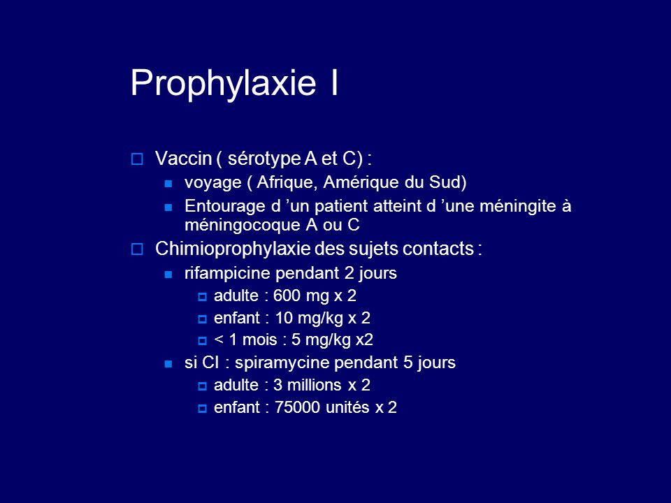 Prophylaxie I  Vaccin ( sérotype A et C) : voyage ( Afrique, Amérique du Sud) Entourage d 'un patient atteint d 'une méningite à méningocoque A ou C