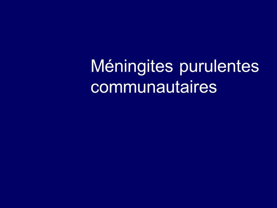 La méningite à pneumocoque  Tableau franc, à début brutal  Purpura possible  Formes comateuses fréquentes et redoutables  Signes de focalisations possibles  Hyperleucocytose sanguine franche  Forte polynucléose dans le LCR.