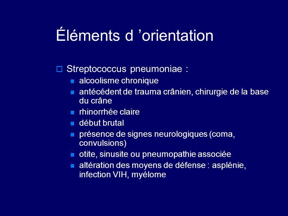 Éléments d 'orientation  Streptococcus pneumoniae : alcoolisme chronique antécédent de trauma crânien, chirurgie de la base du crâne rhinorrhée clair