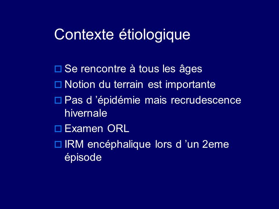 Contexte étiologique  Se rencontre à tous les âges  Notion du terrain est importante  Pas d 'épidémie mais recrudescence hivernale  Examen ORL  I