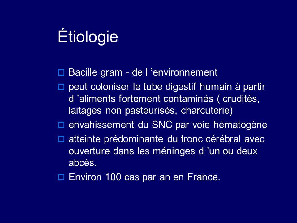 Étiologie  Bacille gram - de l 'environnement  peut coloniser le tube digestif humain à partir d 'aliments fortement contaminés ( crudités, laitages
