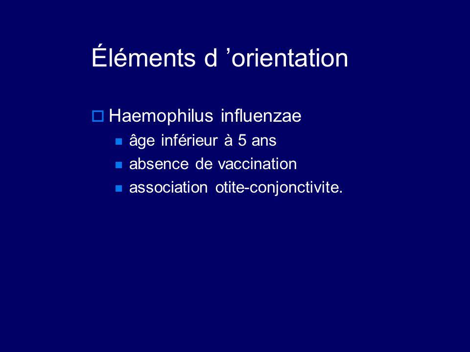 Éléments d 'orientation  Haemophilus influenzae âge inférieur à 5 ans absence de vaccination association otite-conjonctivite.