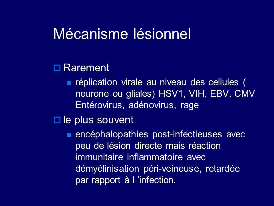 Mécanisme lésionnel  Rarement réplication virale au niveau des cellules ( neurone ou gliales) HSV1, VIH, EBV, CMV Entérovirus, adénovirus, rage  le