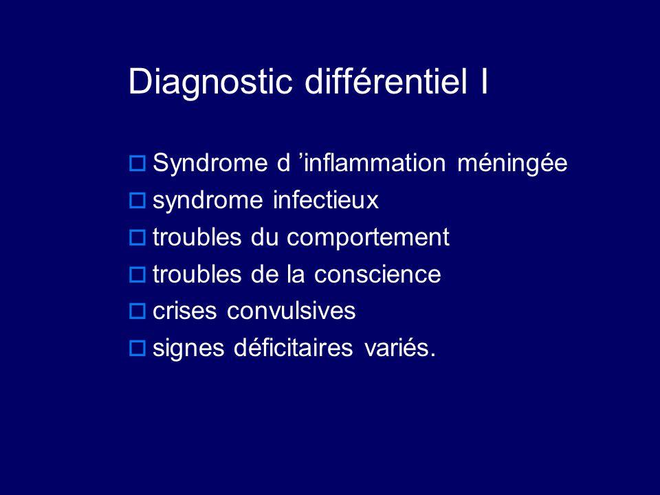 Diagnostic différentiel I  Syndrome d 'inflammation méningée  syndrome infectieux  troubles du comportement  troubles de la conscience  crises co