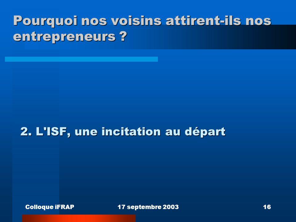 Colloque iFRAP17 septembre 200316 Pourquoi nos voisins attirent-ils nos entrepreneurs ? 2. L'ISF, une incitation au départ